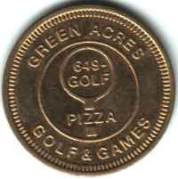 Green Acres Golf & Games Brass Token Obverse