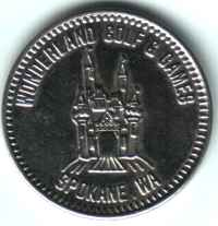 Wonderland Golf and Games Spokane WA Silver Token Obverse
